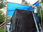 Afterwards, we got the tarp up on the structure! Thanks once again to my dad's insightful engineering...